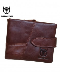 BULL CAPTAIN Coffee Leather Fashionable Zipper Wallet