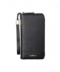 Baellerry Black Long Card Holder PU Leather Wallet