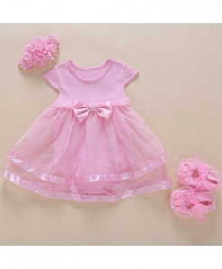 Foohinck Pink New Born Baby Girls Net Infant Dress Set