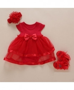 Foohinck Red Sleeveless New Born Baby Girls Infant Dress Set