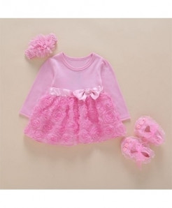 Foohinck Pink Full Sleeves New Born Baby Girls Infant Dress Set