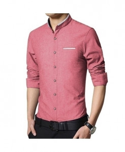LANGBEEYAR Red Long Sleeve Mandarin Collar Casual Shirt