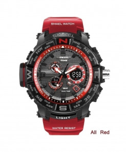 SMAEL Red LED Digital Analog Waterproof Watch