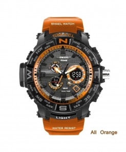 SMAEL Orange LED Digital Analog Waterproof Watch