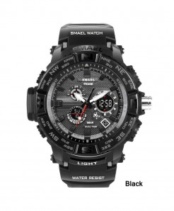 SMAEL Black LED Digital Analog Waterproof Watch