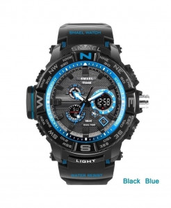 SMAEL Black Blue LED Digital Analog Waterproof Watch