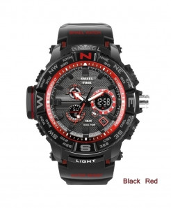 SMAEL Black Red LED Digital Analog Waterproof Watch