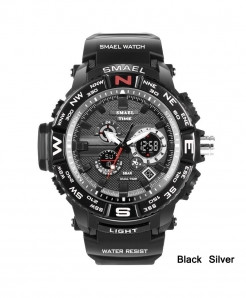 SMAEL Black Silver LED Digital Analog Waterproof Watch