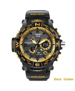 SMAEL Black Golden LED Digital Analog Waterproof Watch