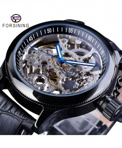 Forsining Mechanical Clock Skeleton Blue Hand Black Watch