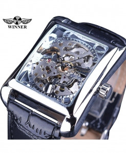 Winner Silver Retro Casual Rectangle Dial Design Mechanical Watch