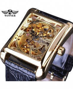 Winner Golden Retro Casual Rectangle Dial Design Mechanical Watch