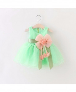 AiLe Rabbit Green Sleeveless Lace Dress
