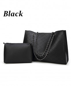 Black Casual Tote Design Leather Handbag