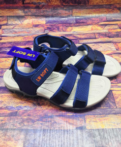Navy Blue Tri-Strap Design Casual Sandal LW-7180