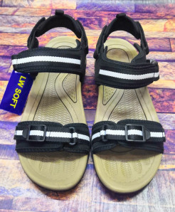 Brown White Strap Design Casual Sandal LW-7181