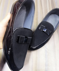 Shiny Black Stylish Design Slip-On Loafers LW-7186
