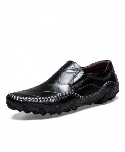 Times New Roman Black Cow Leather Loafers