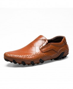 Times New Roman Brown Cow Leather Loafers