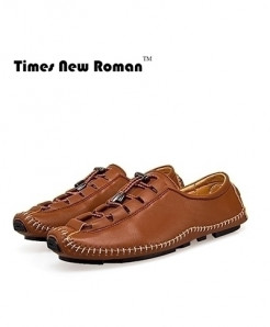Times New Roman Brown Soft Moccasins Casual Loafers