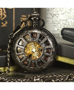 TIEDAN Black Steampunk Skeleton Mechanical Pocket Watch