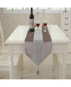 Champagne Tasseled Edge Diamante Table Runner 32x250cm