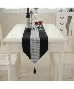 Black Tasseled Edge Diamante Table Runner 32x250cm