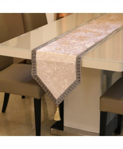 Milky White European Velvet Table Runner 32x180cm