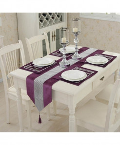 Purple Flannel Tassel Diamond Table Runner 32x250cm
