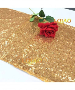 Gold Dotted Pattern Sequin Table Runner W30xL300cm