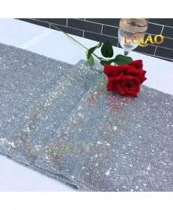 Silver Dotted Pattern Sequin Table Runner W30xL300cm