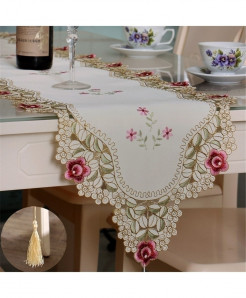 Pink Floral European Pastoral Embroidery Table Runner 70x130cm