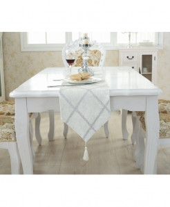 TUEDIO White Lattice Suede Table Runner 28x210cm