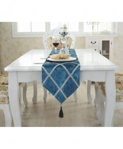 TUEDIO Cross Pattern Tassels Lattice Suede Table Runner 28x210cm