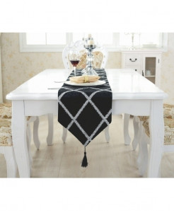 TUEDIO Black Pattern Lattice Suede Table Runner 28x210cm