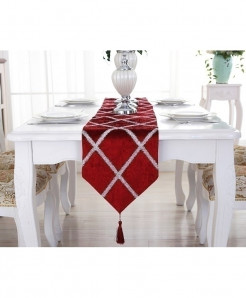 TUEDIO Cross Pattern Lattice Suede Table Runner 28x210cm