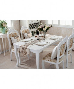 White Raised Flower European Table Runner 32x180cm