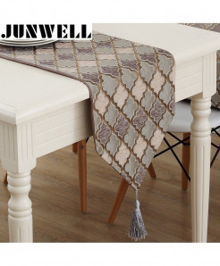 Junwell Modern Nylon Jacquard Tassels Table Runner