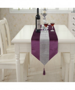 Purple Tasseled Edge Diamante Table Runner 32x250cm