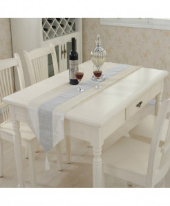 Ivory Tasseled Edge Diamante Table Runner 32x250cm