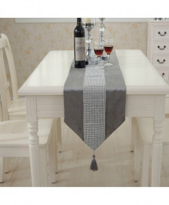 Gray Tasseled Edge Diamante Table Runner 32x250cm
