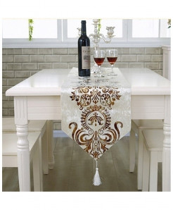 White European Style Geometric Pattern Table Runner 32x250cm