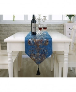 Blue European Style Geometric Pattern Table Runner 32x250cm