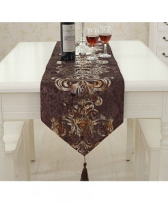 Coffee European Style Geometric Pattern Table Runner 32x250cm