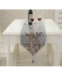 Grey European Style Geometric Pattern Table Runner 32x250cm