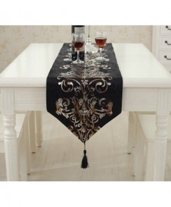 Black European Style Geometric Pattern Table Runner 32x250cm