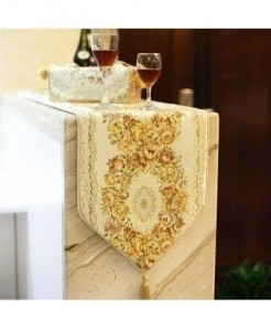 Golden Luxurious Silk Embroidery Table Runner 28x270cm