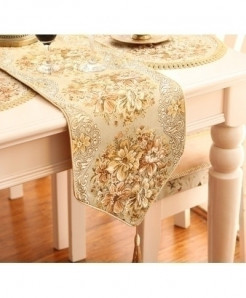 European Luxurious Silk Embroidery Table Runner 28x270cm