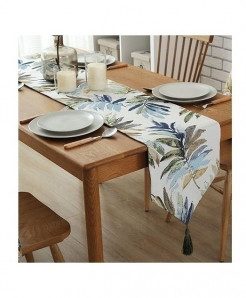 Light Leaves Nylon Jacquard Table Runner 32x220cm