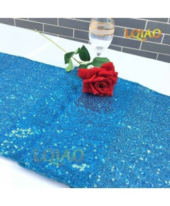 Turquoise Dotted Pattern Sequin Table Runner W30xL300cm